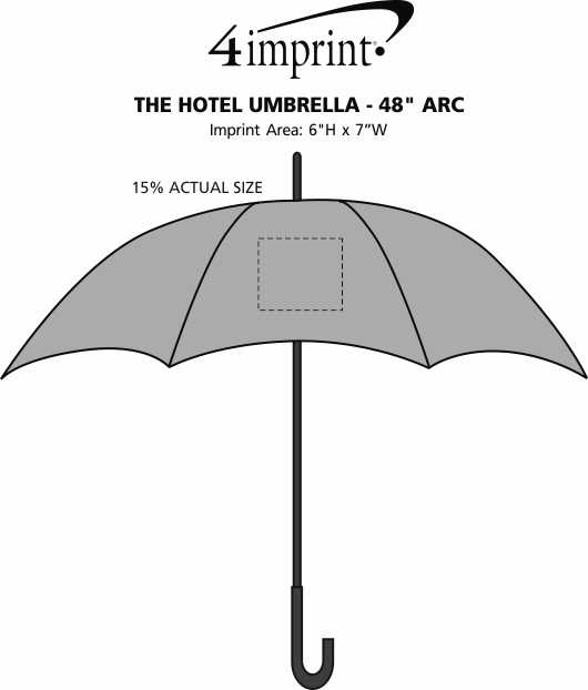 "Imprint Area of The Hotel Umbrella - 48"" Arc"