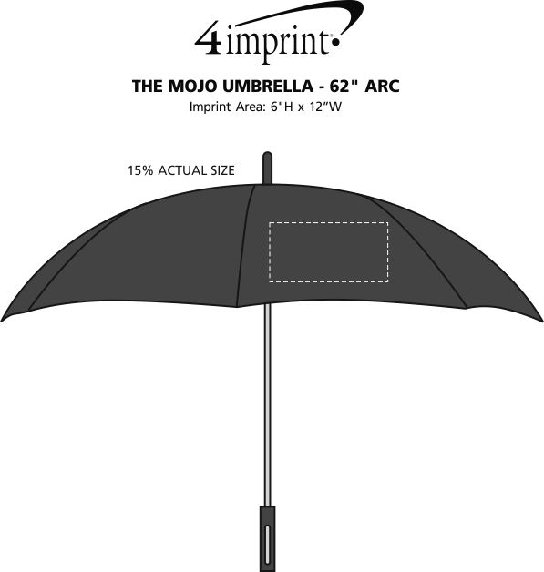 "Imprint Area of The Mojo Umbrella - 62"" Arc"