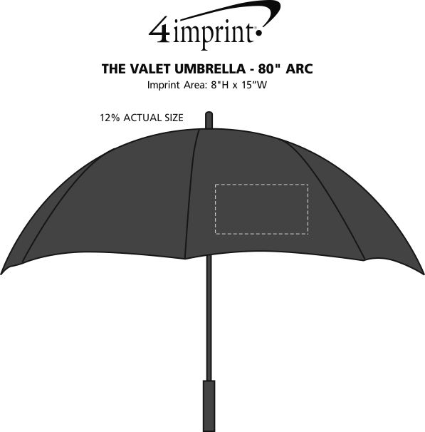"Imprint Area of The Valet Umbrella - 80"" Arc"