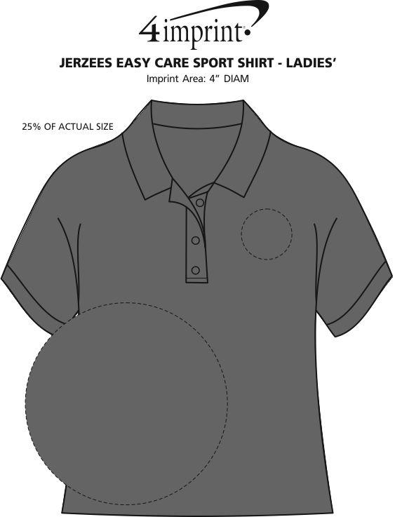 Imprint Area of Jerzees Easy Care Sport Shirt - Ladies'