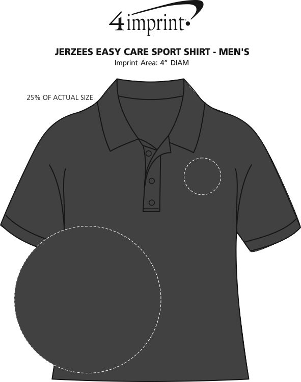 Imprint Area of Jerzees Easy Care Sport Shirt - Men's