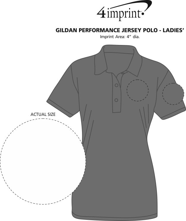 Imprint Area of Gildan Performance Jersey Polo - Ladies'