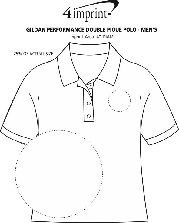 Imprint Area of Gildan Performance Double Pique Polo - Men's