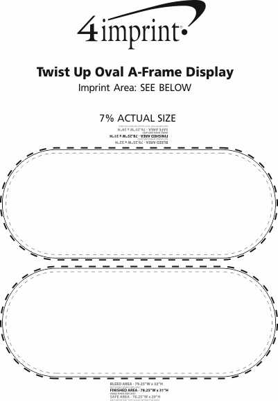 Imprint Area of Twist Up Oval A-Frame Display
