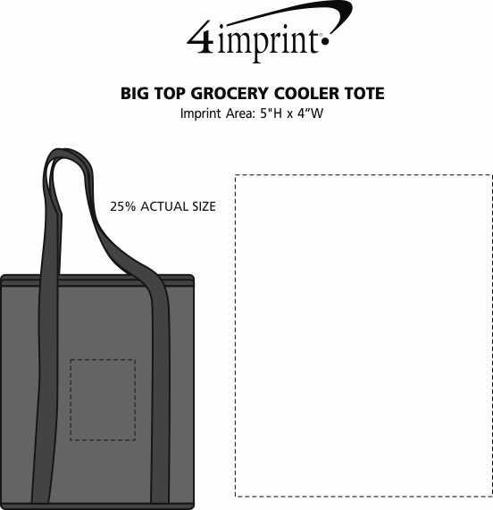 Imprint Area of Big Top Grocery Cooler Tote