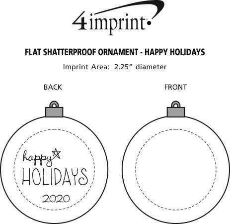 Imprint Area of Flat Shatterproof Ornament - Happy Holidays