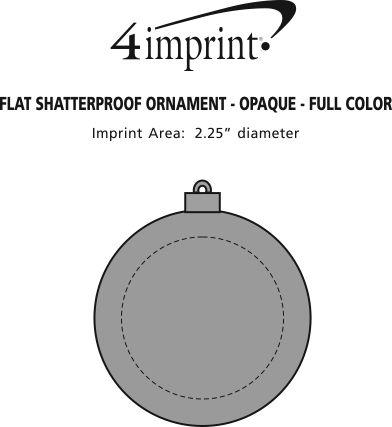 Imprint Area of Flat Shatterproof Ornament - Opaque - Full Color