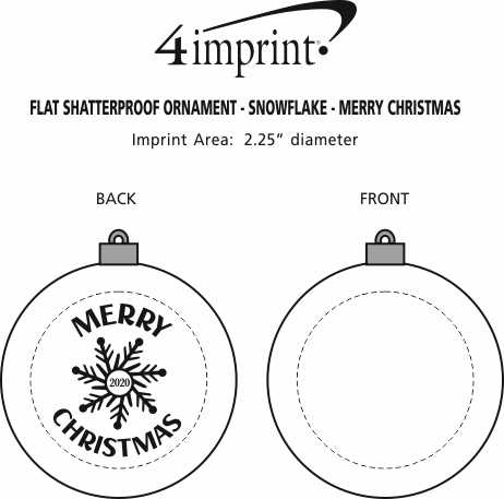 Imprint Area of Flat Shatterproof Ornament - Snowflake - Merry Christmas