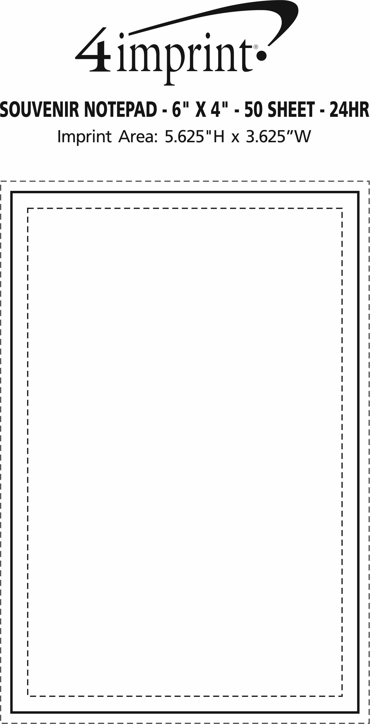 """Imprint Area of Bic Non-Adhesive Notepad - 6"""" x 4"""" - 50 Sheet - 24 hr"""