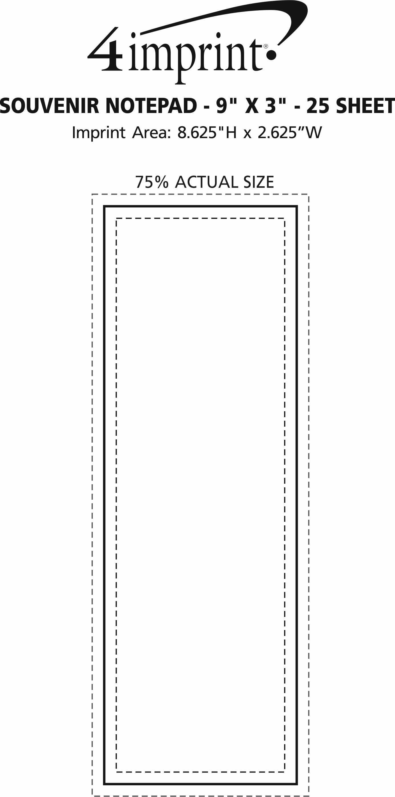 "Imprint Area of Bic Non-Adhesive Notepad - 9"" x 3"" - 25 Sheet"