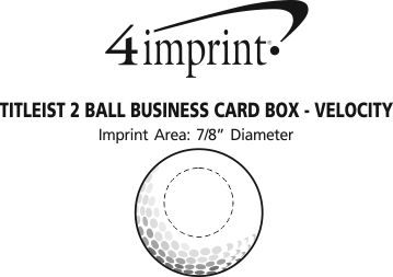 Imprint Area of Titleist 2 Ball Business Card Box - Velocity
