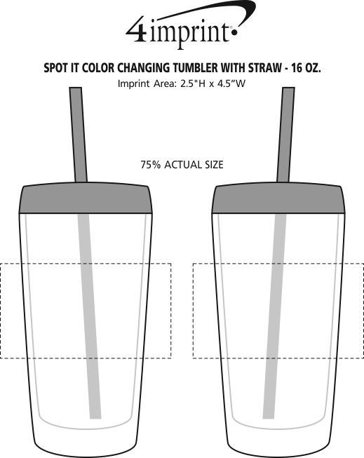 Imprint Area of Spot It Color Changing Tumbler with Straw - 16 oz.