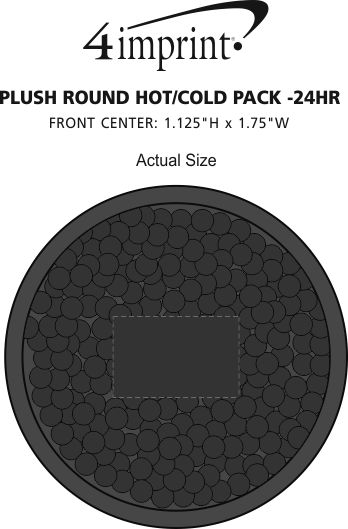 Imprint Area of Plush Round Hot/Cold Pack - 24 hr