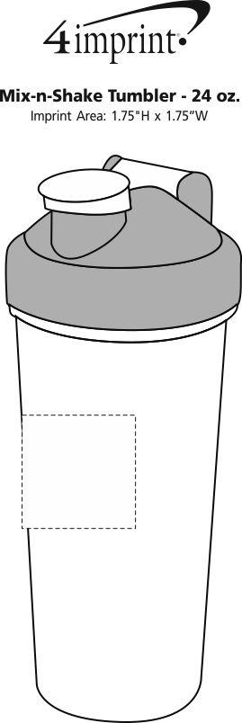 Imprint Area of Mix and Shake Bottle - 24 oz.