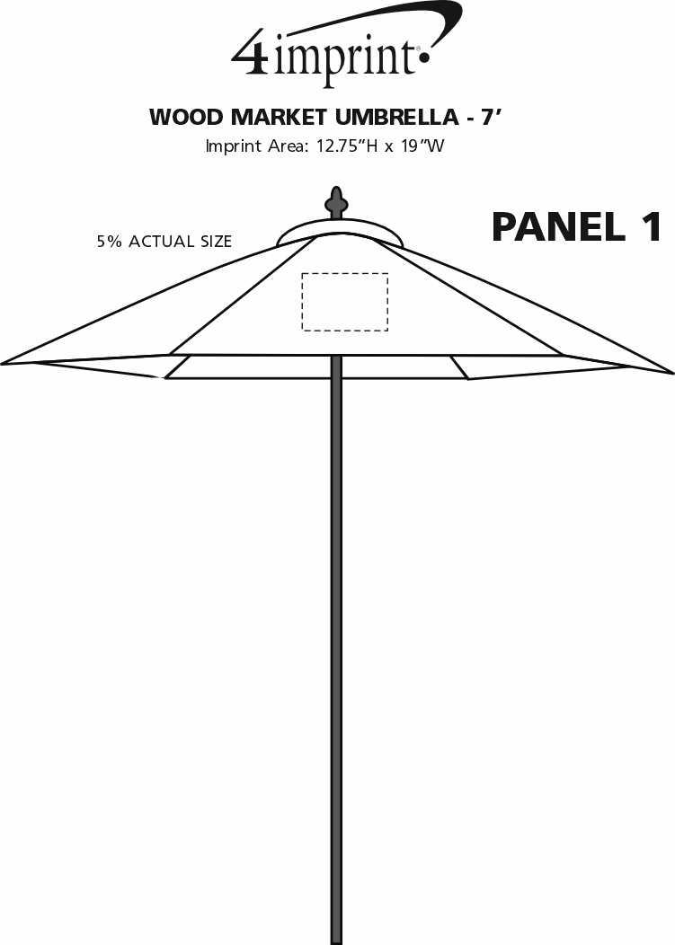 Imprint Area of Wood Market Umbrella - 7'