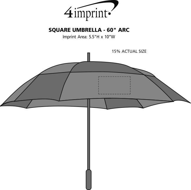 """Imprint Area of Square Umbrella - 60"""" Arc"""