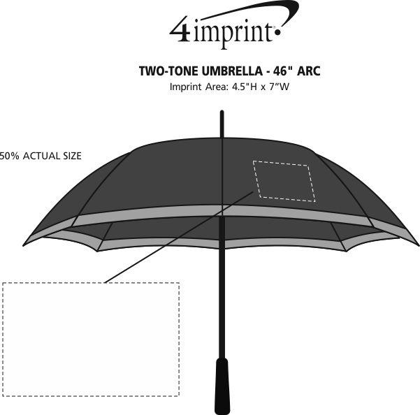 "Imprint Area of Two-Tone Umbrella - 46"" Arc"