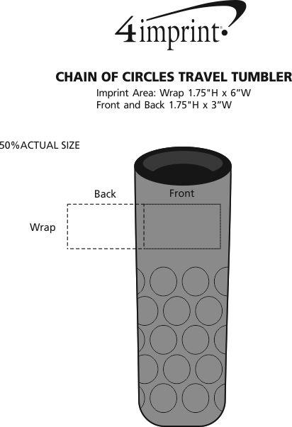 Imprint Area of Chain of Circles Travel Tumbler - 16 oz.