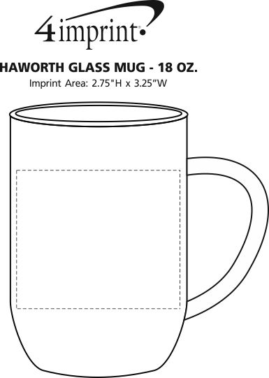 Imprint Area of Haworth Glass Mug - 18 oz.