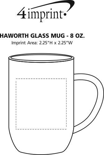 Imprint Area of Haworth Glass Mug - 8 oz.