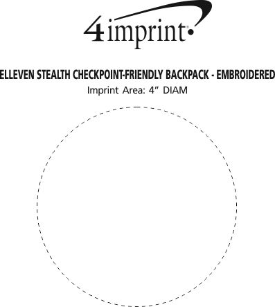 Imprint Area of elleven Stealth Checkpoint-Friendly Backpack - Embroidered