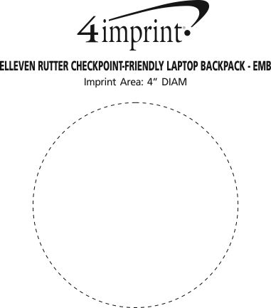 Imprint Area of elleven Rutter Checkpoint-Friendly Laptop Backpack - Embroidered