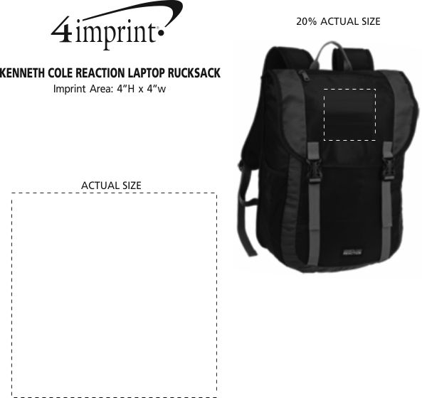 Imprint Area of Kenneth Cole Reaction Laptop Rucksack