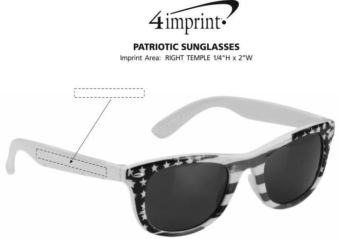 Imprint Area of Patriotic Sunglasses