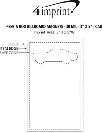 """Imprint Area of Peek a Boo Billboard Magnets - 30 mil - 3"""" x 5"""" - Car"""