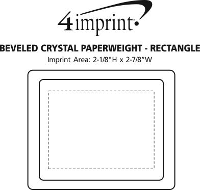 Imprint Area of Beveled Crystal Paperweight - Rectangle