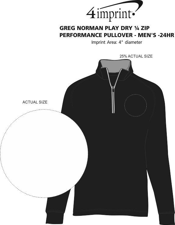 Imprint Area of Greg Norman Play Dry 1/4-Zip Performance Pullover - Men's - 24 hr