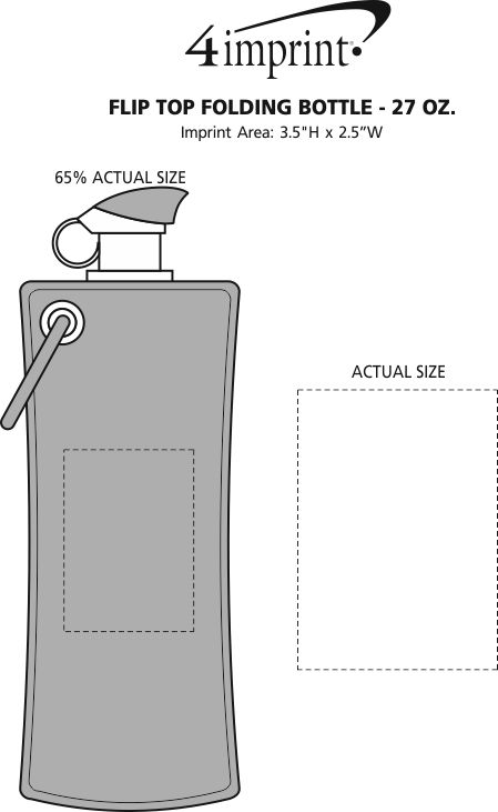 Imprint Area of Flip Top Folding Bottle - 27 oz.