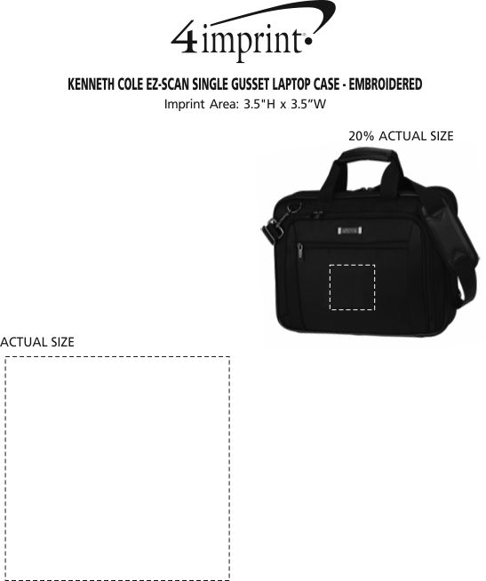Imprint Area of Kenneth Cole EZ-Scan Single Gusset Laptop Case - Embroidered