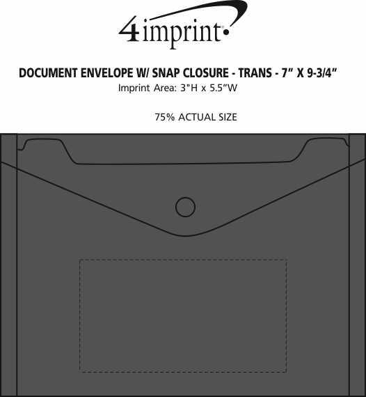 "Imprint Area of Document Envelope with Snap Closure - Translucent - 7"" x 9-3/4"""