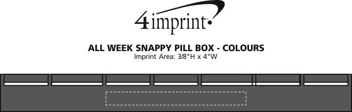 Imprint Area of All Week Snappy Pill Box - Colors