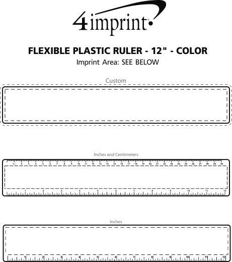 "Imprint Area of Flexible Plastic Ruler - 12"" - Color"