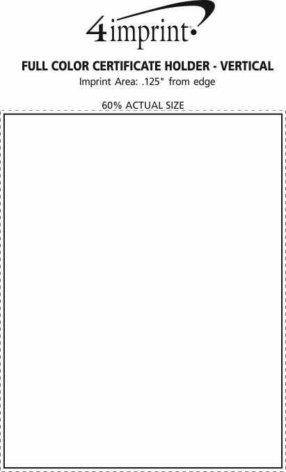 Imprint Area of Full Color Certificate Holder - Vertical