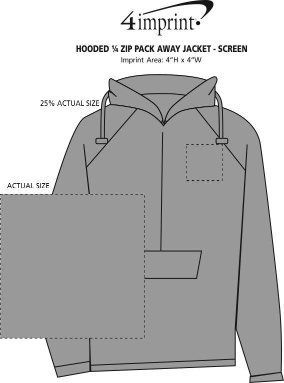 Imprint Area of Hooded 1/4-Zip Pack Away Jacket - Screen