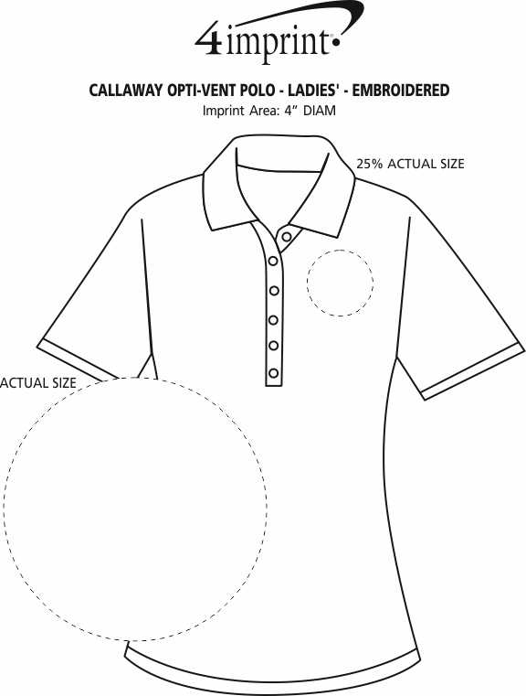 Imprint Area of Callaway Opti-Vent Polo - Ladies' - Embroidered