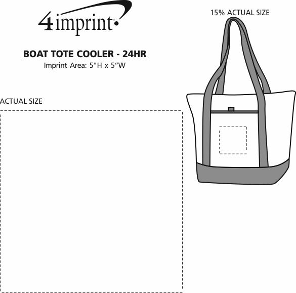 Imprint Area of Boat Tote Cooler - 24 hr