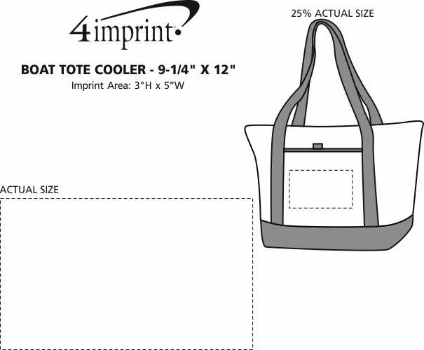 "Imprint Area of Boat Tote Cooler - 9-1/4"" x 12"""