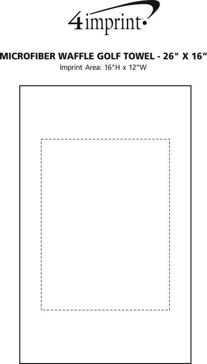 "Imprint Area of Microfiber Waffle Golf Towel - 26"" x 16"""