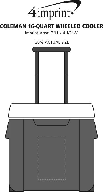 Imprint Area of Coleman 16-Quart Wheeled Cooler