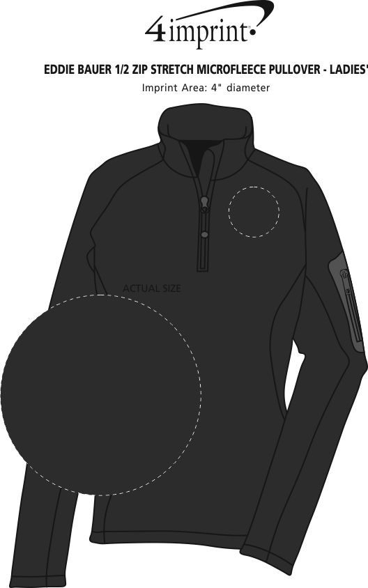 Imprint Area of Eddie Bauer 1/2-Zip Stretch Microfleece Pullover - Ladies'