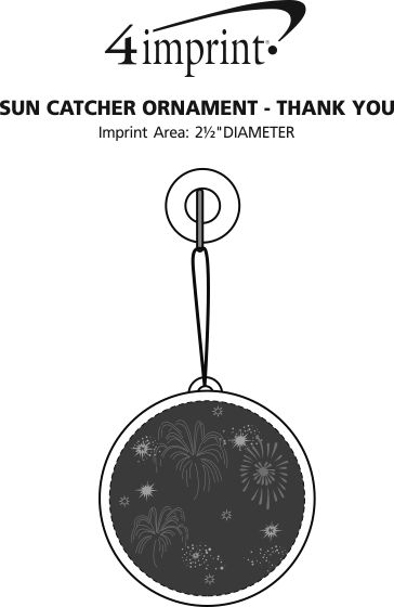 Imprint Area of Sun Catcher Ornament - Thank You