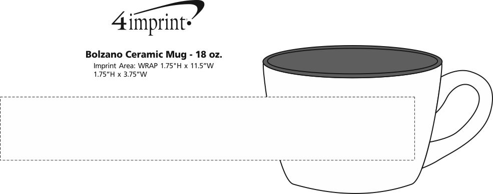 Imprint Area of Bolzano Ceramic Mug - 18 oz.