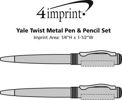 Imprint Area of Yale Twist Metal Pen & Pencil Set