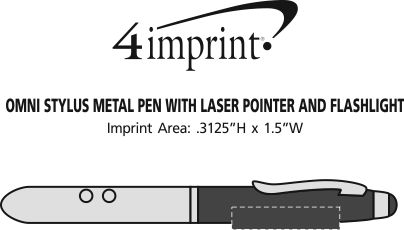 Imprint Area of Omni Stylus Metal Pen with Laser Pointer and Flashlight