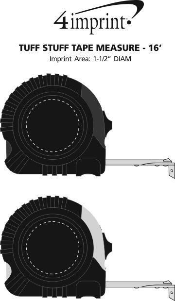 Imprint Area of Tuff Stuff Tape Measure - 16'