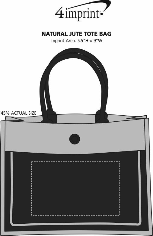Imprint Area of Natural Jute Tote Bag